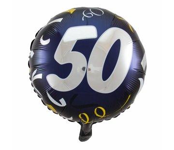 Folie Ballon 50 Jaar Zwart & Goud 45cm - Per Stuk