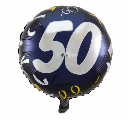 Folie Ballon 50 Jaar Zwart & Goud - per stuk