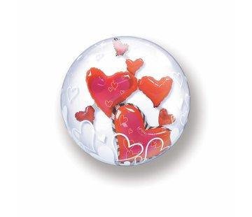 Folie Ballon Zwevende Hartjes 61cm - Per Stuk