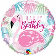 Folie Ballon Happy Birthday Flamingo 45cm - Per Stuk