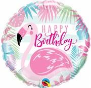 Folie Ballon Happy Birthday Flamingo - per stuk