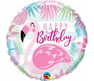 Folie Ballon Happy Birthday Flamingo 45cm - Per Stuk
