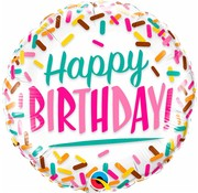 Folie Ballon Happy Birthday Sprinkles - per stuk