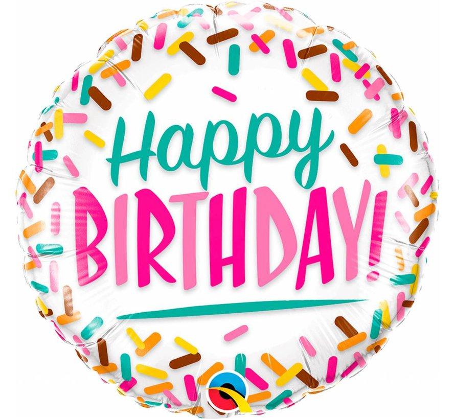 Folie Ballon Happy Birthday Sprinkles 45cm - Per Stuk