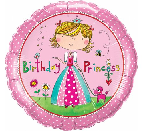 Folie Ballon Birthday Princess 46cm - Per Stuk