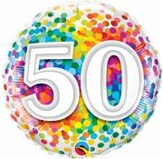 Folie Ballon 50 Jaar Regenboog Confetti - per stuk