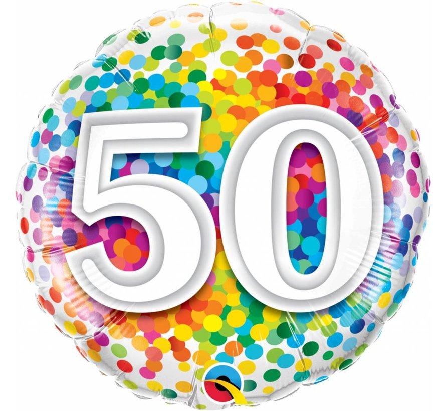 Folie Ballon 50 Jaar Regenboog Confetti  45cm - Per Stuk
