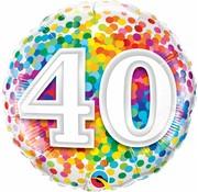 Folie Ballon 40 Jaar Regenboog Confetti 45cm - Per Stuk