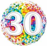 Folie Ballon 30 Jaar Regenboog Confetti 45cm - Per Stuk
