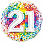 Folie Ballon 21 Jaar Regenboog Confetti 45cm - Per Stuk