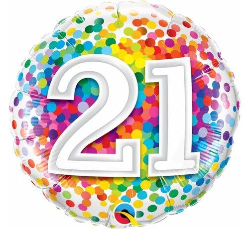 Folie Ballon 21 Jaar Regenboog Confetti - per stuk
