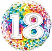 Folie Ballon 18 Jaar Regenboog Confetti - per stuk
