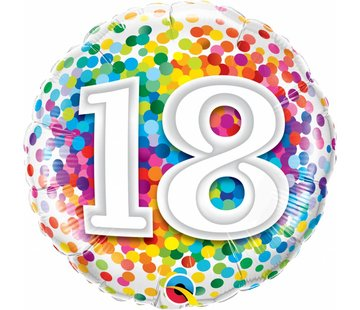 Folie Ballon 18 Jaar Regenboog Confetti 45cm - Per Stuk