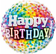 Folie Ballon Happy Birthday Regenboog Confetti - per stuk