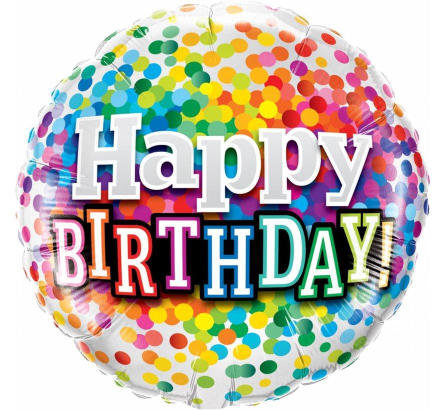 Folie Ballon Happy Birthday Regenboog Confetti 46cm - Per Stuk
