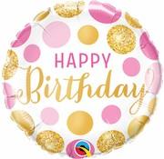 Folie Ballon Happy Birthday Goud & Roze Stippen - per stuk