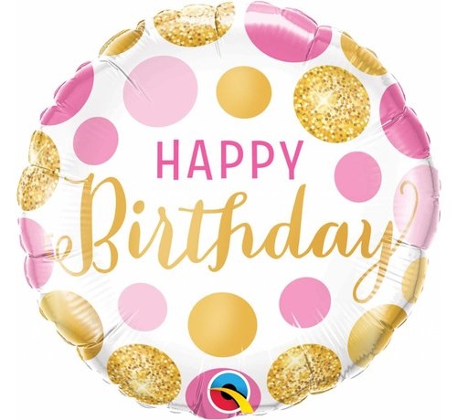 Folie Ballon Happy Birthday Goud & Roze Stippen 45cm - Per Stuk