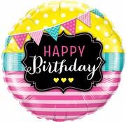 Folie Ballon Happy Birthday Pennants & Pink - per stuk