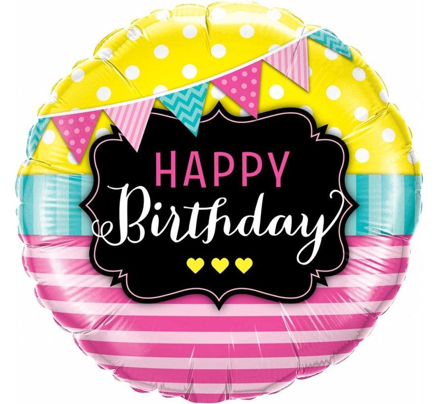 Folie Ballon Happy Birthday Pennants & Pink 45cm - Per Stuk