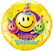 Folie Ballon Happy Birthday Smiley Face 45cm - Per Stuk