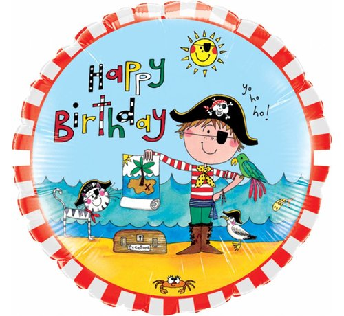 Folie Ballon Happy Birthday Pirate 46cm - Per Stuk