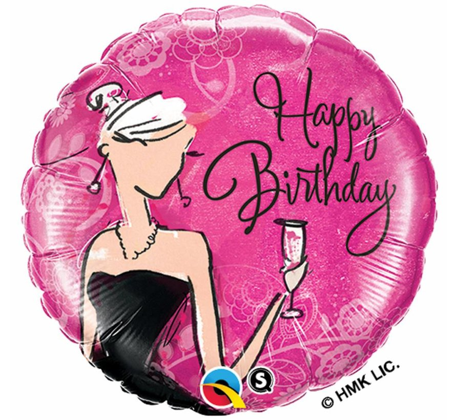 Folie Ballon Happy Birthday Black Dress 45cm - Per Stuk