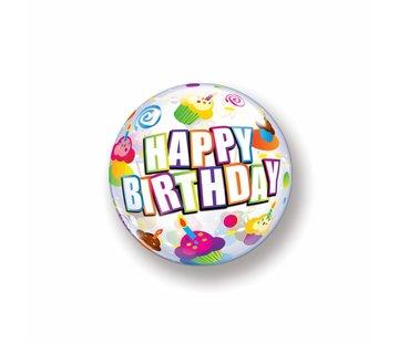 Folie Ballon Happy Birthday Cake 56cm - Per Stuk