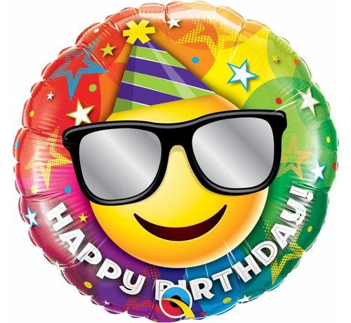Folie Ballon Happy Birthday Smiley Face 45cm - Per Stuk