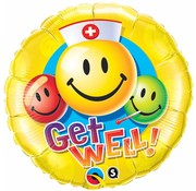 Folie Ballon Get Well Smiley Face 46cm - Per Stuk