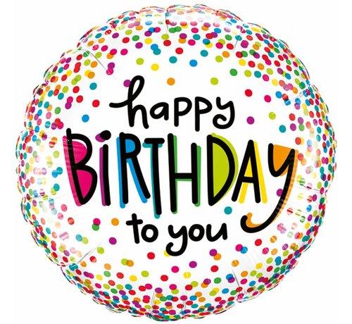 Folie Ballon Happy Birthday To You 46cm - Per Stuk