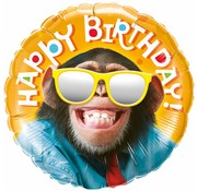 Folie Ballon Happy Birthday Chimpansee 46cm - Per Stuk