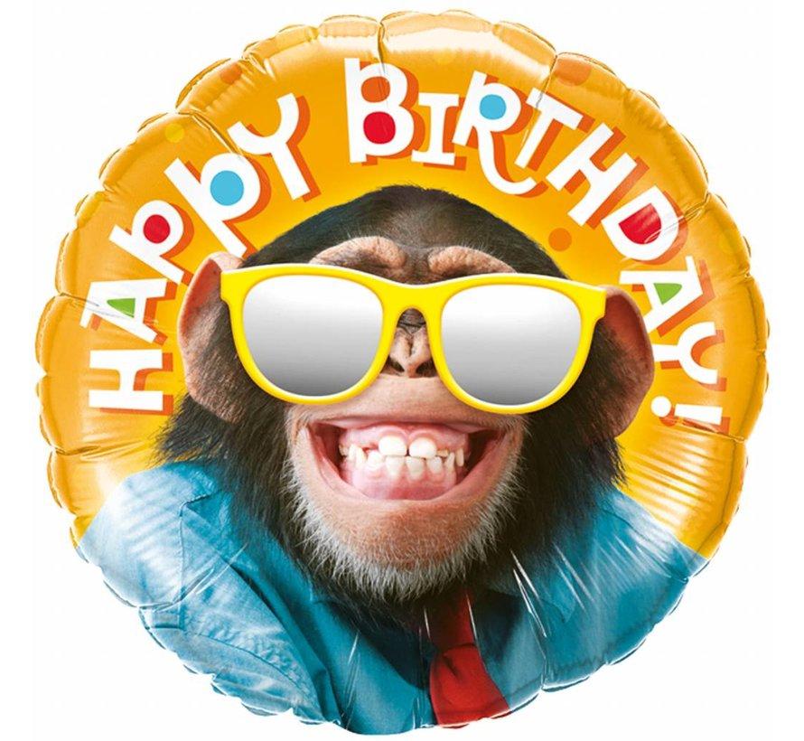 Folie Ballon Happy Birthday Chimpansee 46cm - Per Stuk