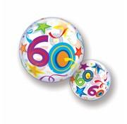 Folie Ballon 60 Jaar met Sterren 56cm - Per Stuk