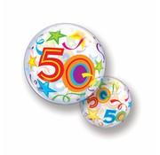 Folie Ballon 50 Jaar met Sterren - per stuk