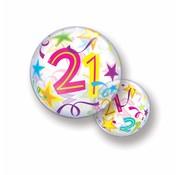 Folie Ballon 21 Jaar met Sterren - per stuk
