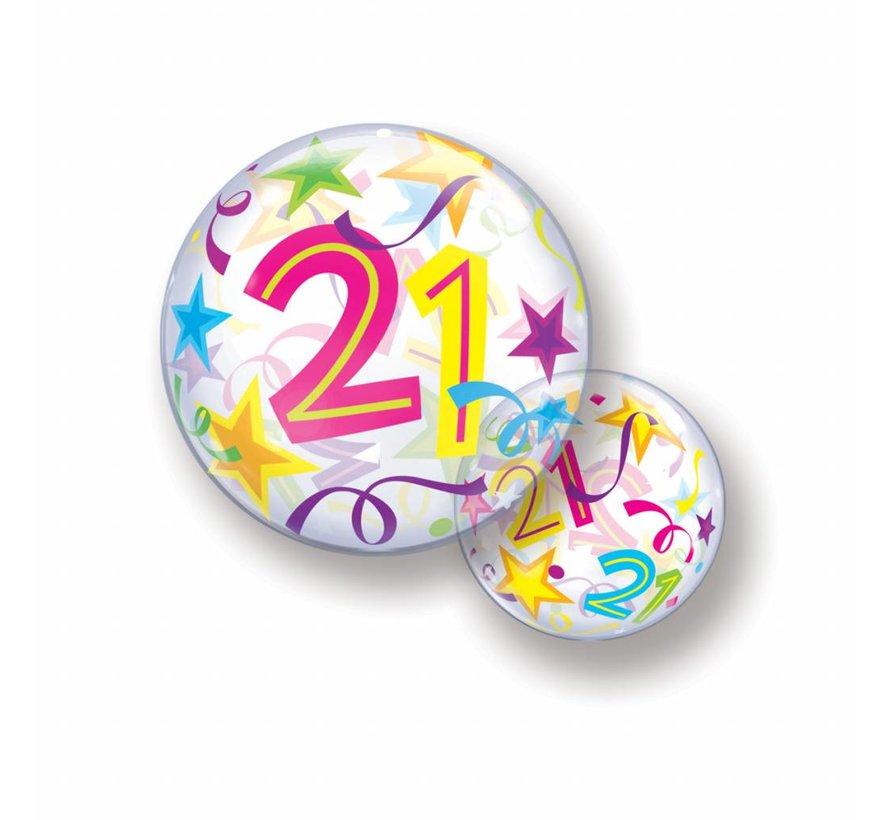 Folie Ballon 21 Jaar met Sterren 56cm - Per Stuk