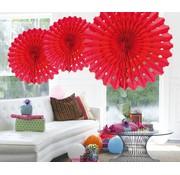 Honeycomb Fan Rood 45cm - per stuk