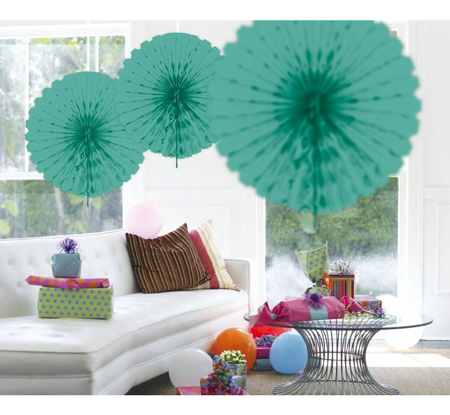 Honeycomb Fan Turquoise 45 cm - per stuk