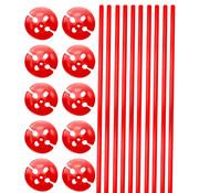 Ballonhouders + Dopjes Rood - 10 stuks