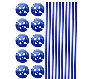 Ballonhouders + Dopjes Blauw - 10 stuks