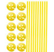 Ballonhouders + Dopjes Geel - 10 stuks
