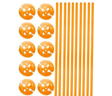 Ballonhouders + Dopjes Oranje - 10 stuks