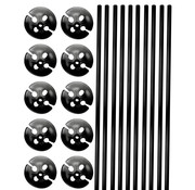 Ballonhouders + Dopjes Zwart - 10 stuks