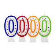 Verjaardagskaarsjes 0 stipjes gekleurd - per stuk