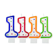 Verjaardagskaarsjes 1 jaar stipjes gekleurd - per stuk