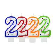 Verjaardagskaarsjes 2 jaar stipjes gekleurd - per stuk