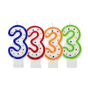 Verjaardagskaarsjes 3 jaar stipjes gekleurd - per stuk