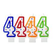 Verjaardagskaarsjes 4 jaar stipjes gekleurd - per stuk