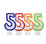 Verjaardagskaarsjes 5 jaar stipjes gekleurd - per stuk