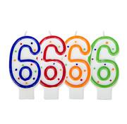 Verjaardagskaarsjes 6 jaar stipjes gekleurd - per stuk